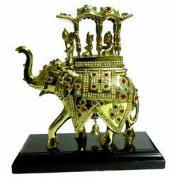 Brass Sawari Elephant With Stone Work