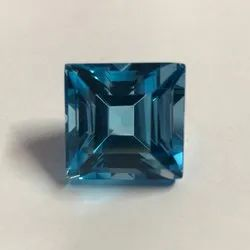 50 Carat Size Swiss Blue Topaz Stone Faceted Square Cut Gemstone