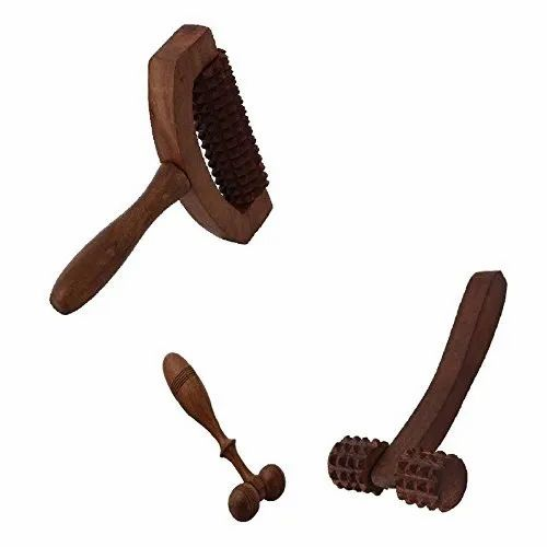 Wooden Set Of 3 Hand Massager Roller Body Stress Acupressure Acupuncture Cutter Massagers