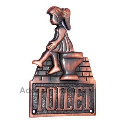 Large Ladies Toilet Brass Sign