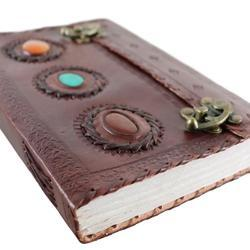 Double Latch Leather Journal With Stone