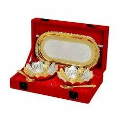 Christmas Gifts Golden Silver Plated Bowl Set