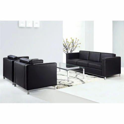 Black Leather Sofa Office: Black Office Sofa Set, Designer Sofa, ���िजाइनर ���ोफा ���ेट