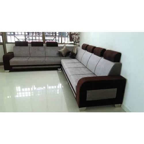 7 Seater Grey And Brown Corner Sofa Set Warranty 5 Years Rs 10000
