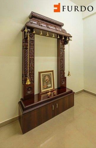 Brown Modern Teak Wood Pooja Mandir For Home Size 6 8