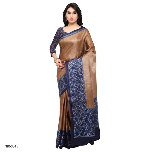 Party Wear Plain Tussar Silk Saree, 5.5 M (separate Blouse Piece)