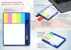 C99 - Big USB Hub With Sticky Notes Writing Pad And Pen With 3 Usb Ports