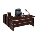 Wooden Brown L Shape Office Table And Chair