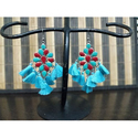 Party And Festival Blue And Maroon Fashionable Earring Set