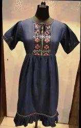 Denim Empire Midi Dress