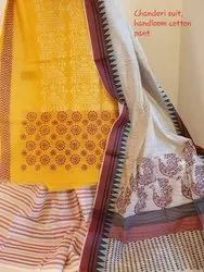 Block Printed Cotton Handblock Printed Chanderi Suit, Size: Unstitched