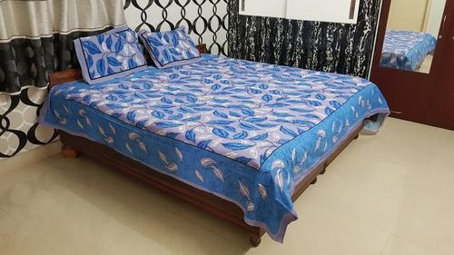 Jaipuri Print Cotton Double King Bed Sheet, Size: 90 X 108 Inches