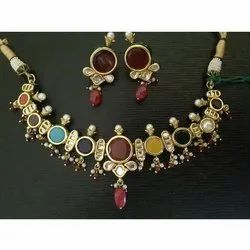 Gold Plated Kundan Necklace Set of 5
