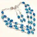 Checker Cut Kyaite Pear Shape Gemstone Women Handmade Wedding Necklace