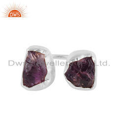 Natural Rough Amethyst Gemstone Fine Silver Rings Jewelry