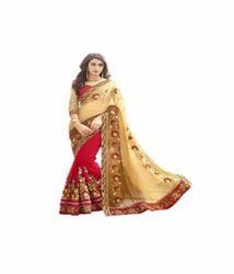 Yellow-Red Fancy Women's Saree