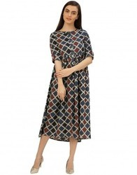 Women Indigo Geometrical Print Cotton Kantha Dress