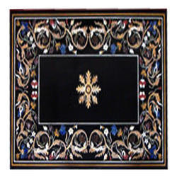 Black Marble Dining Center Table Top Handmade Inlay Work