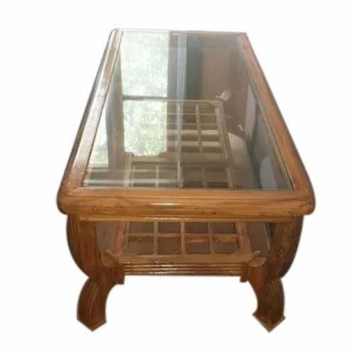 Rectangular Brown Teakwood Center Table