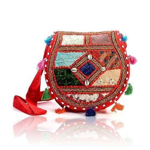 d39acf3cc4f Rajasthani Hand Bags - Mirror Work Red Shoulder Bag Manufacturer from Jaipur