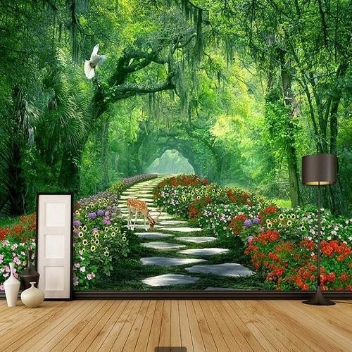 pvc floral  forest wallpaper rs  square feet wall