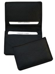Brown & Black Genuine Leather Credit Card Holder