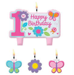 Amscan Butterfly 1st Birthday Cake Candle Set 4 Pcs
