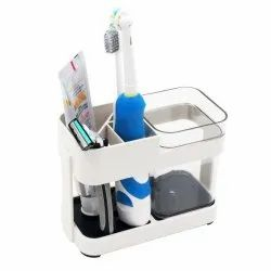 Toothbrush & Toothpaste Stand Holder with 1 Cups, 4 Slots for Bathroom Organizer, Travel