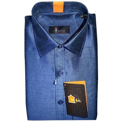 08eb529709da16 Party Wear And Wedding Wear Plain Men  s Blue Colour Poly Dupion Silk Shirt