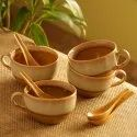 ExclusiveLane 'The Eclipsed Four' Soup Bowls With Spoons Dual Glazed Studio Pottery In Ceramic Set