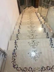 stairs marble inlay flooring