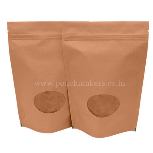 f9e6d73572f Stand Up Pouches Brown Paper Bags With Zipper Pouch And Oval Window ...