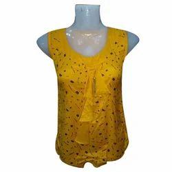 Ladies Sleeveless Printed Yellow Top