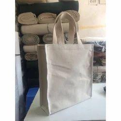 Off White Plain Cotton Canvas Bag