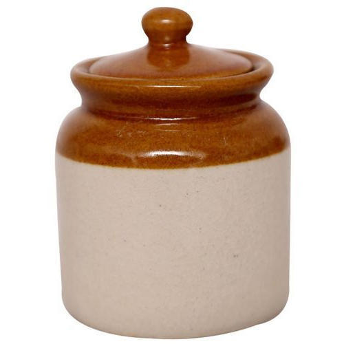 Brown And White Ceramic Pickle Container