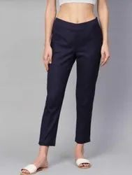 Ladies Cotton Lycra Cigarette Pant