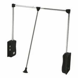 Slimline Cloth Hanger Pull Down Lifter (Chrome Plated Mild Steel/Aluminium Silver Finish)