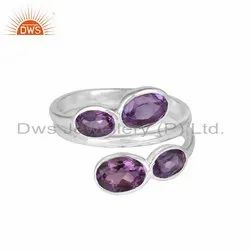 925 Fine Silver Natural Amethyst Gemstone Rings Jewelry
