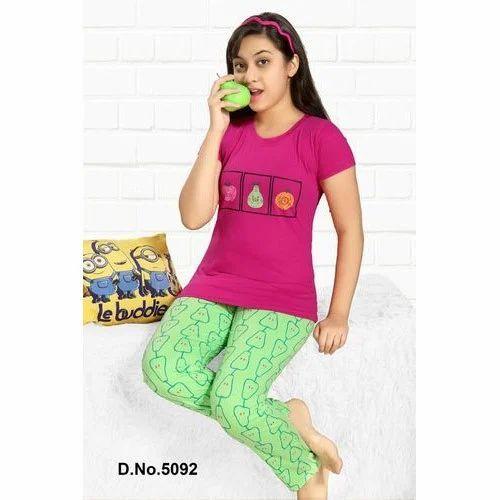 23e3cad91af Hosiery Cotton Fancy Girls Night Suit