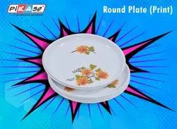 White Printed Plastic Plate, Round, Size: Large