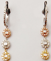 Flawless Triple Tone Diamond Rounds Gold Hanging Earring