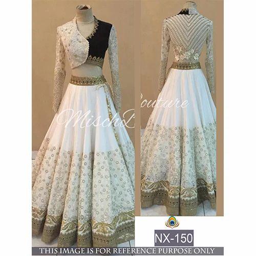 a69c135a59 Lehenga Choli - White Colored Net & Georgette Thread Work Lehenga ...