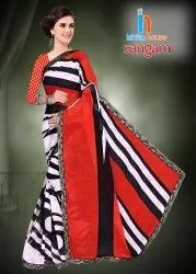 Sangam Printed Border Less Saree