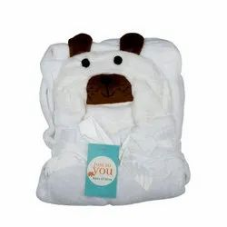 Baby Blanket With Hood White Dog