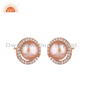 CZ Pink Pearl Gemstone Rose Gold Plated Silver Stud Earrings Wholesale