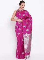 Violet Pink Kesari Exports Banarasi Silk Party Wear Sarees, Packaging Type: International Box