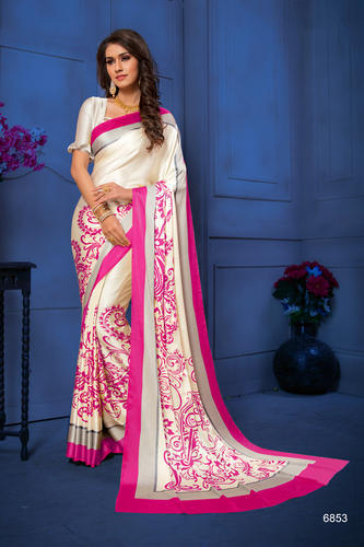 fe5ebec8176862 Hot Pink And Beige Color Satin Silk Saree, Rs 840 /inr   ID: 20102899933