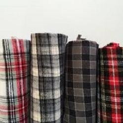 Plain & Embroidered Plaid Flannel Fabric