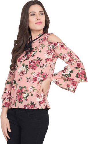 High Neck Cold Sleeve Girls Rayon Printed Top