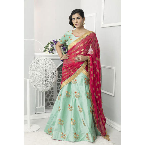d5f591dd1cf88 Pista Color Embroidered Designer Lehenga Choli